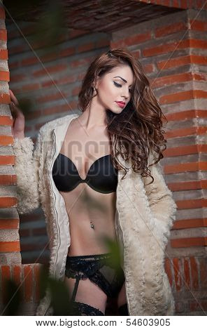 Beautiful brunette woman in black sensual lingerie posing provocatively in front of a brick wall