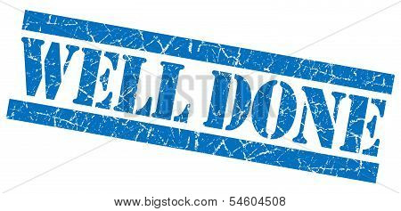 Well Done Blue Grunge Stamp