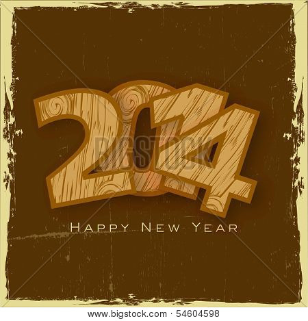 Stylish Happy New Year 2014 celebration flyer, banner, poster or invitation with stylish text on vintage brown background.
