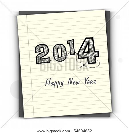 Stylish Happy New Year 2014 celebration flyer, banner, poster or invitation with text on notebook.