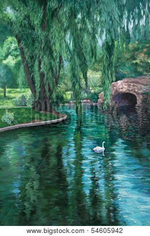 Swan In A Park Pond