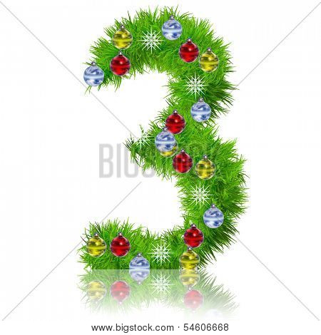 Concept or conceptual Christmas or new year holiday green fir tree font with festive ornaments decoration,isolated on white background