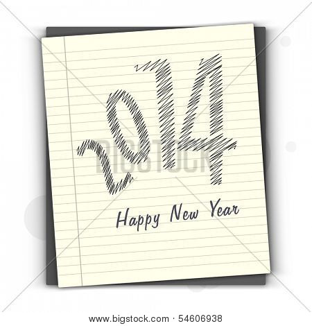 Happy New Year 2014 celebration flyer, banner, poster or invitation with stylish text on notebook.
