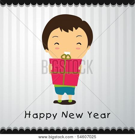 Happy New Year 2014 celebration flyer, banner, poster or invitation with cute little kid holding gift box on grey background.