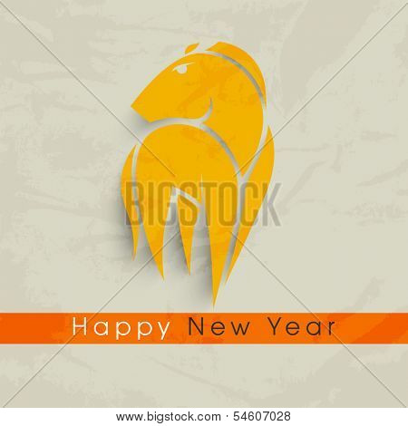 Stylish Happy New Year 2014 celebration flyer, banner, poster or invitation with Chinese symbol, year of the the horse in yellow color on grungy grey background.