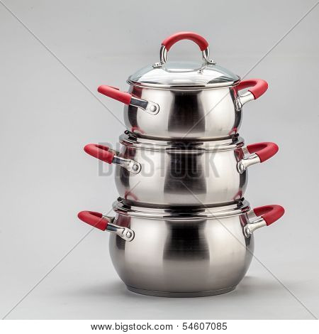 Set of stainless steel pots and pans
