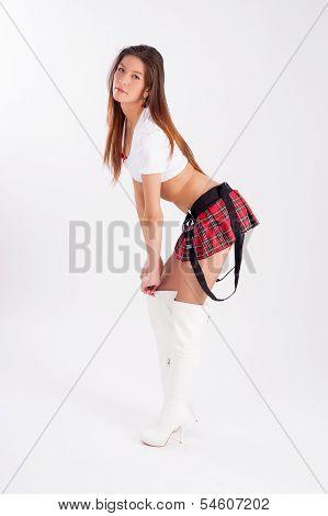Beautiful girl in mini-skirt
