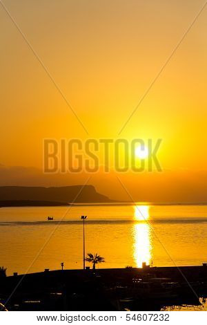 Sunset over sea , Cyprus, Ayia Napa, vertical