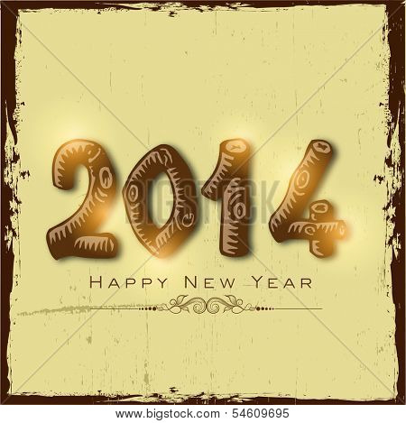 Stylish Happy New Year 2014 celebration flyer, banner, poster or invitation with shiny brown text on vintage background.