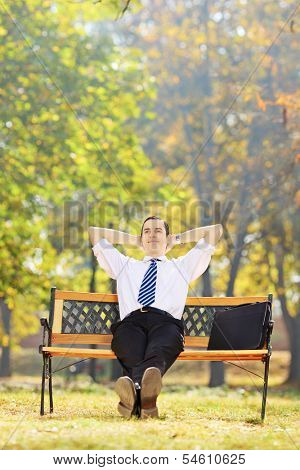 Young confident businessperson relaxing on a wooden bench in a park