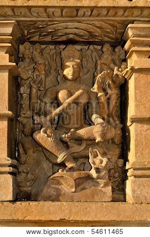 Sculpture Of Kandariya Mahadeva Temple, Khajuraho, India, Unesco Site.