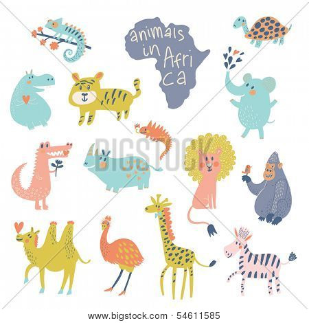 Cute african animals: iguana, turtle, elephant, tiger, hippopotamus, crocodile, rhinoceros, lion, gorilla, camel, ostrich, giraffe, zebra in vector. Cartoon animals in bright colors. Childish set