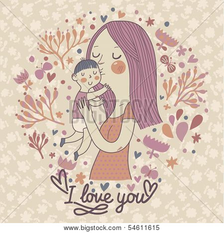 Mothers love. Gentle retro vector card with mother and child. Happy mothers day. Vintage floral background with woman and baby.