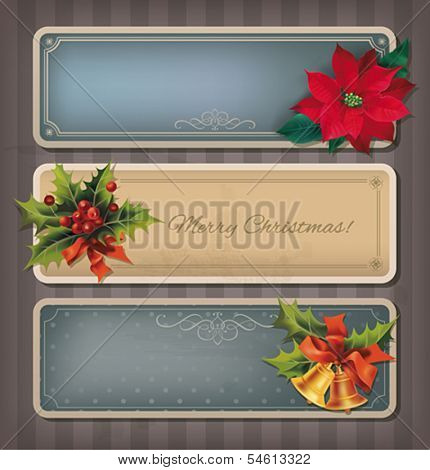 Christmas vintage banners set. Vector eps10.