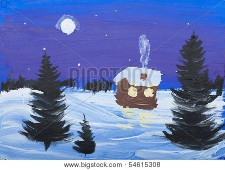 Child's Gouache Picture Of Winter Landscape