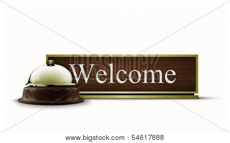 Welcome Desktop Sign And Service Bell