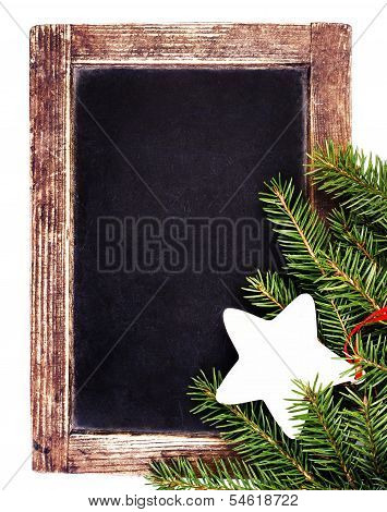 Vintage Slate Chalk Board With Christmas Ornaments Isolated On White Background. Christmas Tree Fir