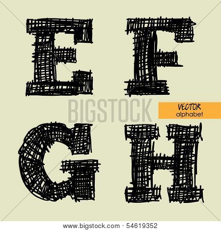 art sketched stylized alphabet in vector, black grungy ink font, signs E, F, G, H