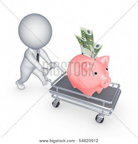 Piggy bank on a pushcart.
