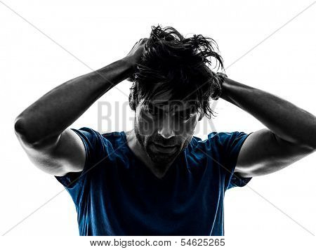one caucasian stubble man headache hangover despair on white background silhouette