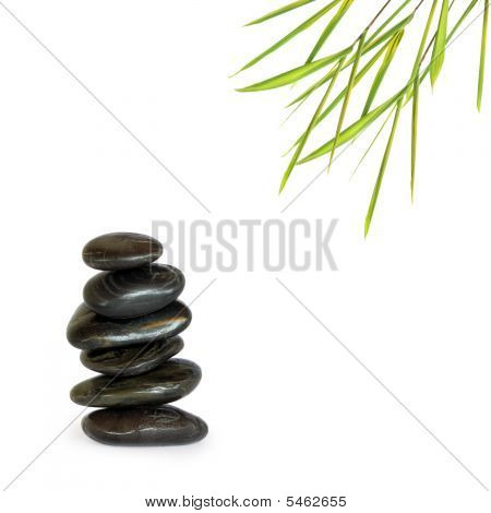 Spa Treatment Stones And Bamboo Leaf Grass