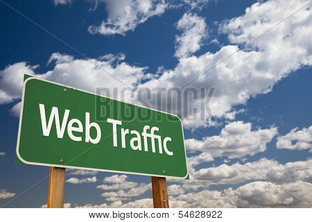 Web Traffic Green Road Sign with Dramatic Sky and Clouds.