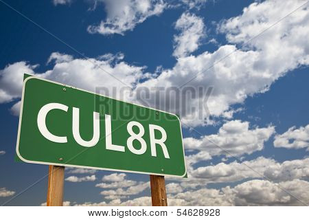 CUL8R, Texting Abbreviation for See You Later, Green Road Sign with Dramatic Sky and Clouds.