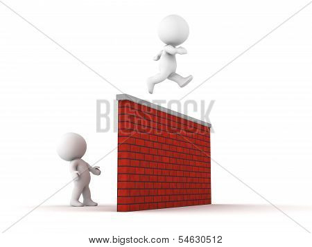 3D Man jumps over wall