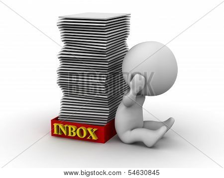 3D Man Stressed with Full Inbox