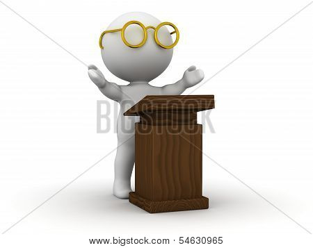 3D Man giving speech with lectern
