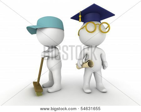 3D Men dressed as janitor and as graduate