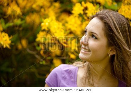 Female Smiling Outdoors