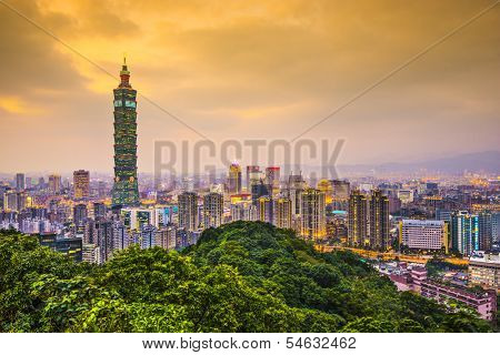Modern office buildings in Taipei, Taiwan at dusk.