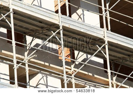 Scaffold Building For The Construction Of Buildings In The Immense Construction Site