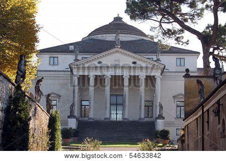 Main Entrance To The Palladian Villa Called La Rotonda In Vicenza In Italy In Autumn