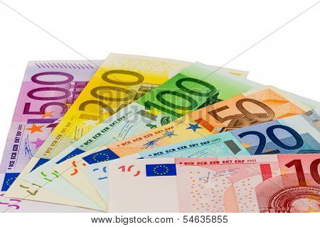 many different euro bills. symbolic photo for wealth and investments.