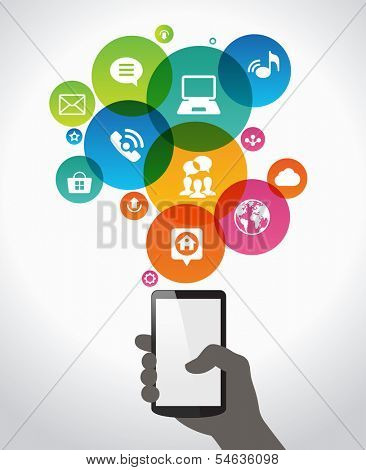 Hand holding mobile phone with icons.  Concept of communication in the network. File stored in version AI10 EPS. This image contains transparency.