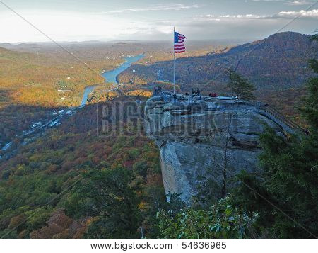 American Flag atop Chimney Rock State Park, North Carolina Mountains