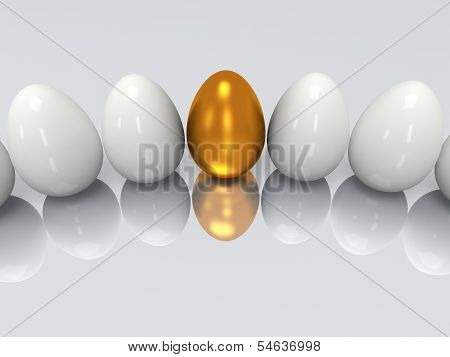 Golden egg in a row of the white eggs. 3D render