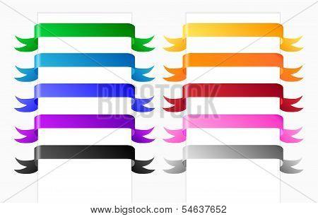 Horizontal ribbons in various colors