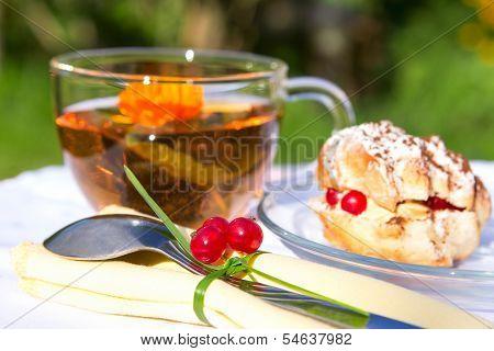 Tasty Tea Cake On White Cloth