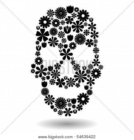 Flower Skull In Black Over White