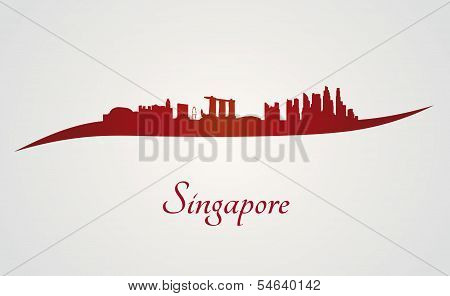 Singapore Skyline In Red