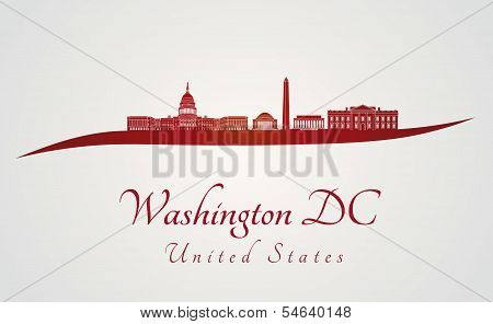 Washington Dc Skyline In Red