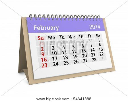 Monthly Calendar For New Year 2014. February