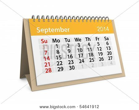 Monthly Calendar For New Year 2014. September