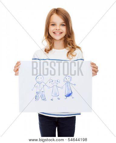 creation, art, family, happiness and painting concept - smiling little child holding picture of family