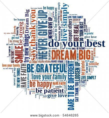 Dream Big and other positive words in word collage