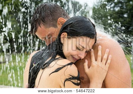 Couple In Water Park