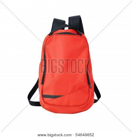 Red Backpack Isolated With Path